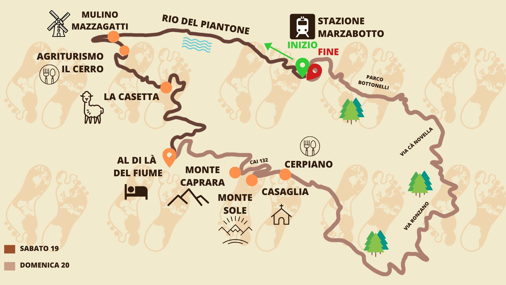 Itacà | Bologna 2021 | Mappa itinerario Marzabotto